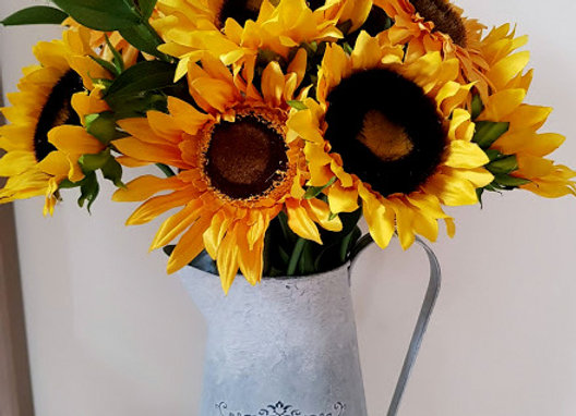 Silk Flower Arrangement - Jug of Artificial Sunflowers