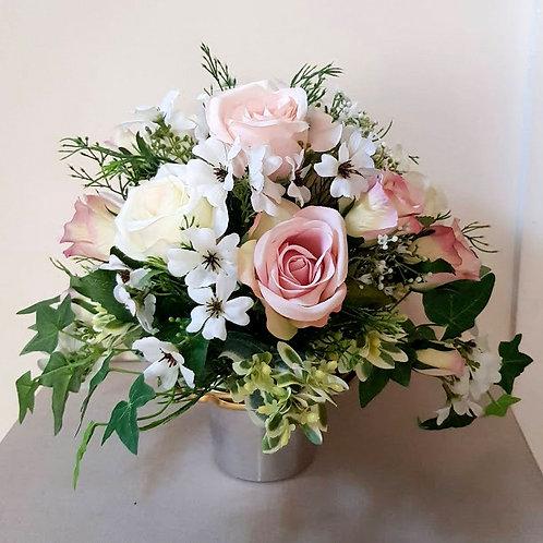 SILK FLOWERS GRAVE POT ROSE, LINUM  AND FERN
