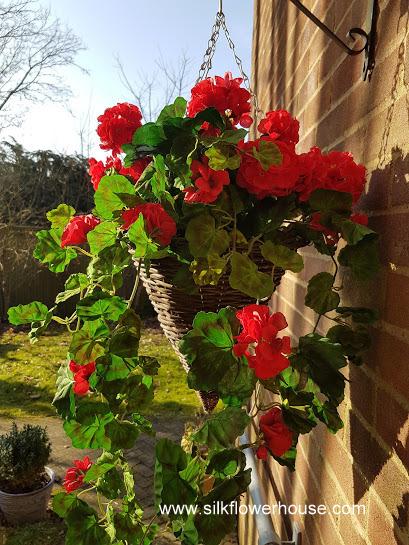Hanging Basket Red Geraniums Silk Flowers