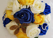 Artificial Rose Small Embellished Bouquet Navy, Yellow and Cream