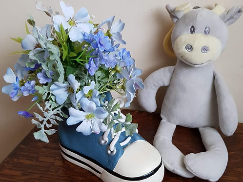 NEW BABY BOY! BLUE SILK FLOWERS IN POTTERY TRAINER