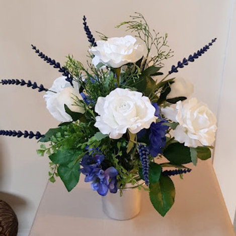 SILK FLOWERS GRAVE POT WHITE ROSE, DELPHINIUM AND LAVENDER