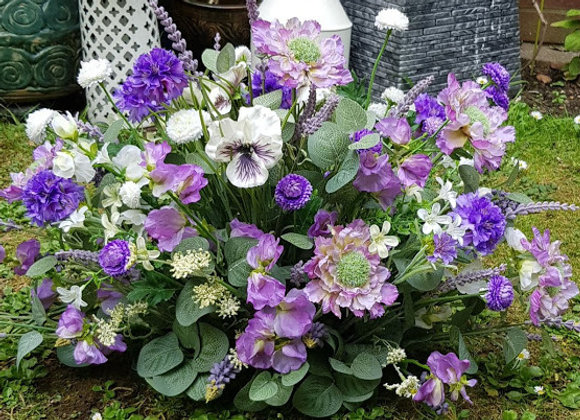 SILK FLOWERS FUNERAL GRAVE TRIBUTE