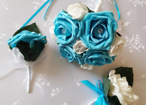 Artificial Rose Buttonholes and Flower Girl Posy Turquoise White