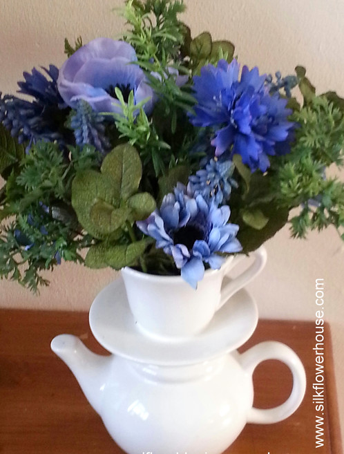 Ceramic Teapot Vase With Silk Flowers And Herbs