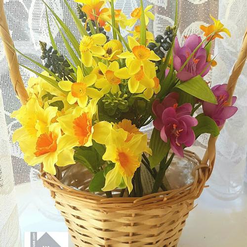 Spring Flowers In Long Handled Basket