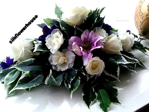 SILK ROSE, ANEMONE AND SWEET PEA ROUND CENTREPIECE