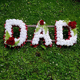 ARTIFICIAL FUNERAL FLOWERS LETTERS DAD M
