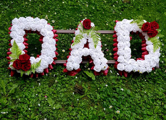 Artificial Funeral Flowers, Any 3 Letters, Rose and Fern