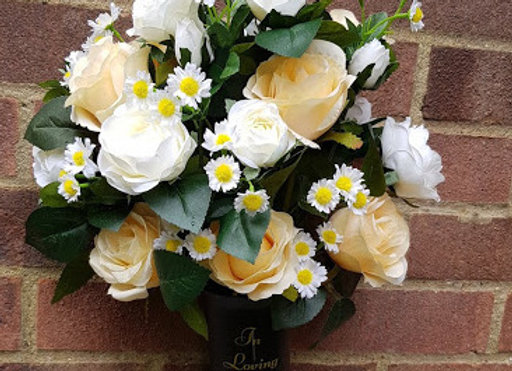 SILK FLOWERS IN LOVING MEMORY SPIKE ROSE AND DAISY