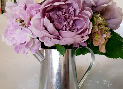 Silk Flower Arrangement - Artificial Peonies and Hydrangea Jug
