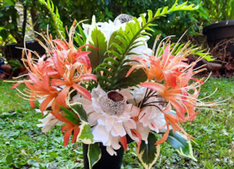 Silk Flowers Grave Pot Peaches and Cream