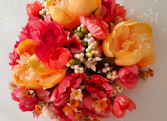 Silk Wedding Flowers Collection Coral and Apricot