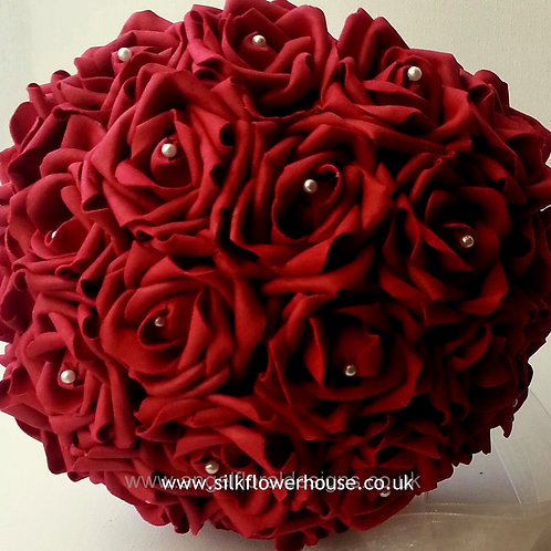 DEEP RED FOAM ROSE BRIDAL BOUQUET WITH PEARL CENTRES