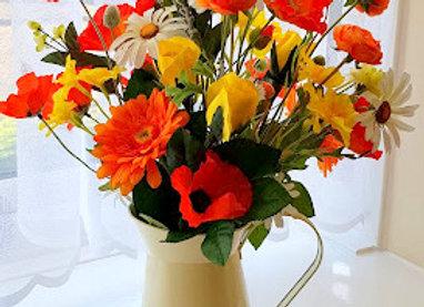 SILK FLOWER ARRANGEMENT COTTAGE GARDEN FLOWER JUG SUNSHINE