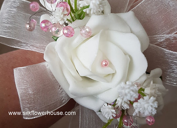 ARTIFICIAL ROSE BEADED WRIST CORSAGE