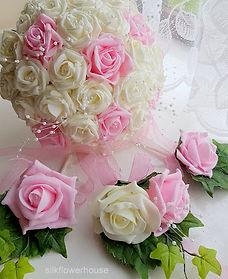 Bridal Bouquet and Buttonholes Pale Pink