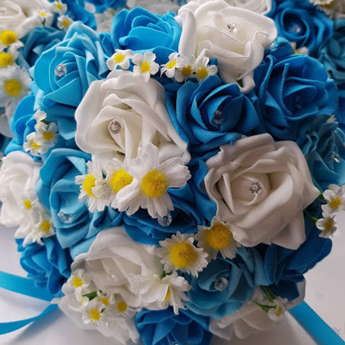 ARTIFICIAL ROSES AND DAISIES BRIDAL BOUQUET