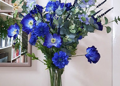 Silk Flowers Bouquet in Shades of Blue
