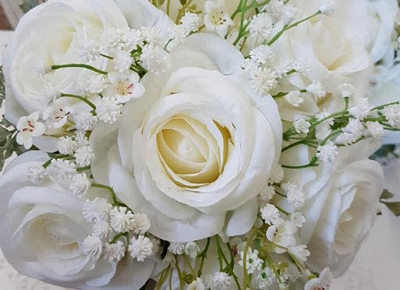 Artificial Wedding Flowers Collection  - Gypsophila, Rose, Grey/Green Foliage