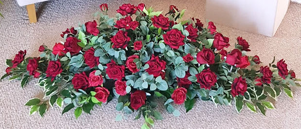 ARTIFICIAL FLOWERS COFFIN SPRAY RED ROSE
