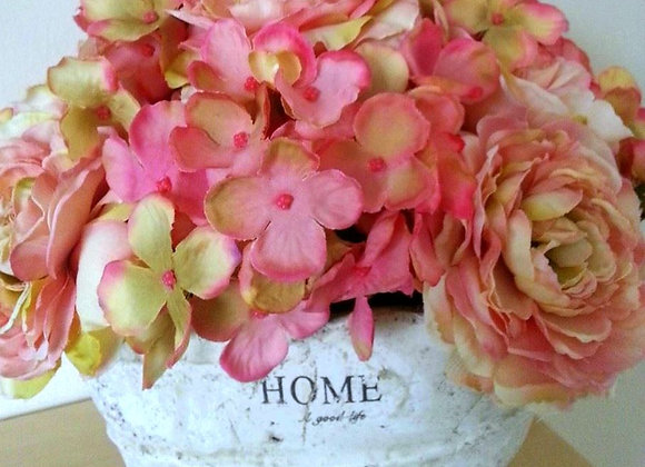 PINK SILK PEONY, HYDRANGEA AND ROSE 'HOME' ARRANGEMENT