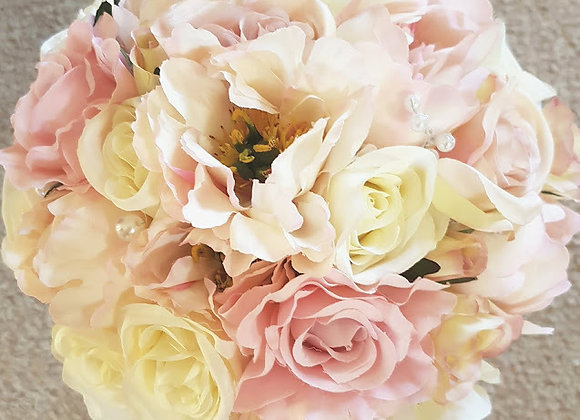 SILK FLOWERS PINK AND IVORY PEONY BRIDAL BOUQUET