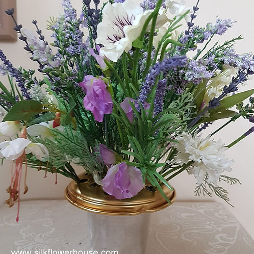 SILK FLOWERS  GRAVE POT SHADES OF LILAC