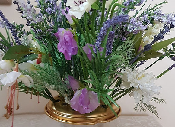 Silk Flowers Grave Pot in Shades of Lilac