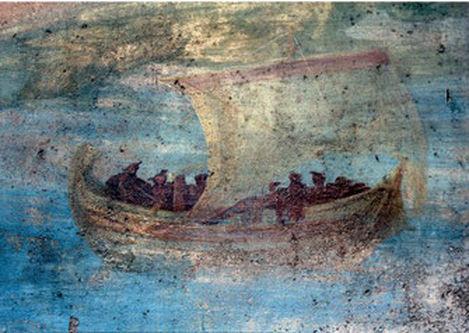 Navire à voile et ses passagers, Maison de la Petite Fontaine, Pompéi