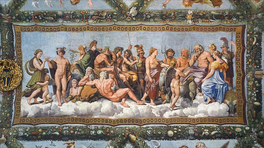 Raphaël (1483-1520), Le Conseil des dieux, Rome, Villa Farnesina, Loge de Psyché. Crédits photo © Archivio Villa Farnesina-Accademia dei Lincei, Roma.