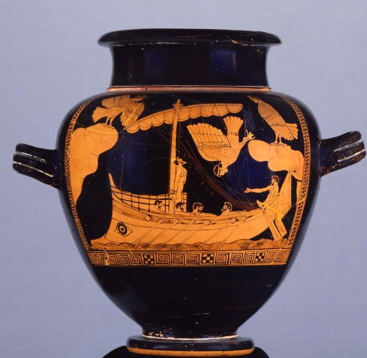 Stamnos (vase grec servant à mélanger et à conserver le vin) à figures rouges, découvert à Vulci (Lazio, Italie), Vème siècle av. J.-C., Conservé au British Museum. Crédits Photo © Trustees of the British Museum