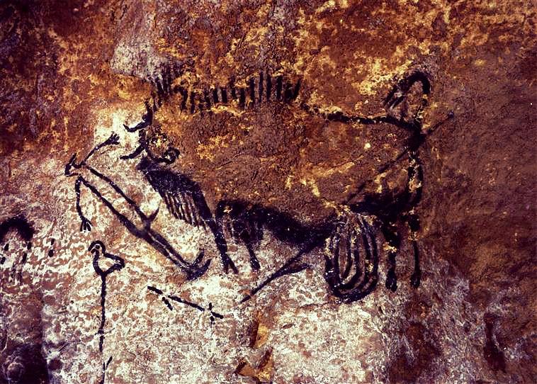 Panneau de l'homme blessé, l'homme, l'oiseau et le bison, Grotte de Lascaux, Dordogne.