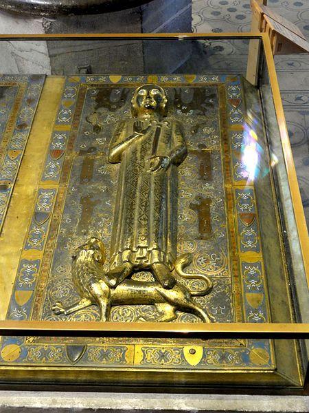 Gisant de Jean de France, plaque de cuivre émaillée, Basilique de Saint-Denis.