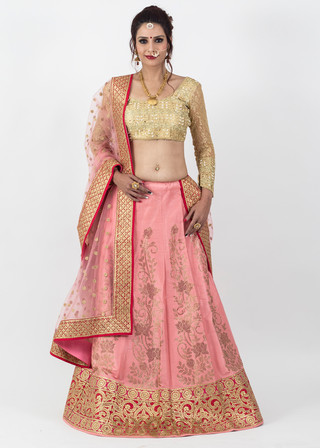 Catalog design for Promotions. Model wearing Designer lehnga and the background behind is white paper.