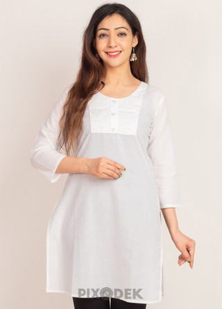 Catalog design for online sales. Model wearing Kurti top and the background behind is white paper.