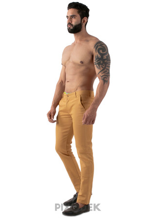 Catalog design for online sales. Model wearing cotton pants and the background behind is white paper. Full length view.