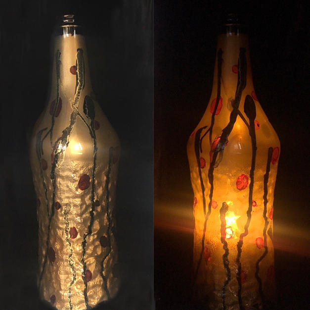 Gold bottle lamp