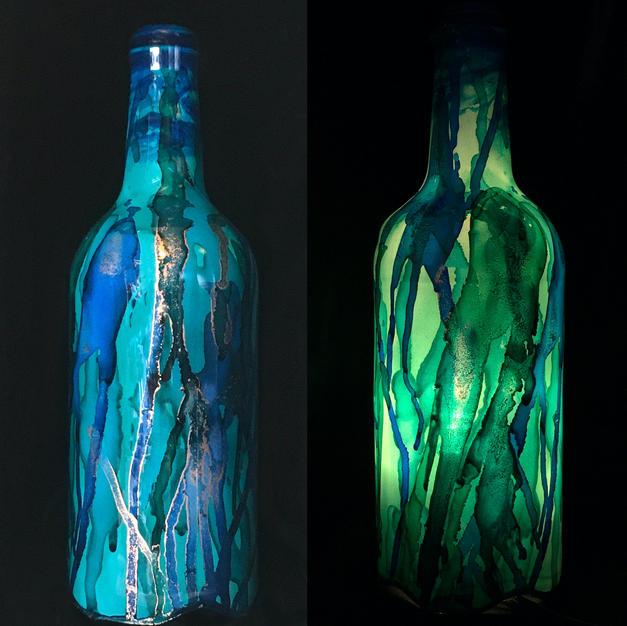 Green-Blue Bottle Lamp