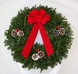 Fresh Balsam Christmas Wreath with Velour Ribbon and Northwoods Pine Cones
