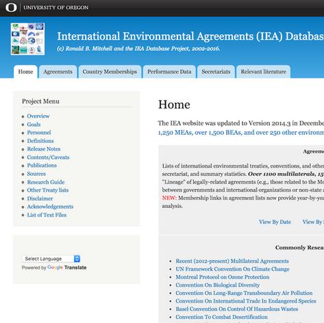 International Environmental Agreements Database Project