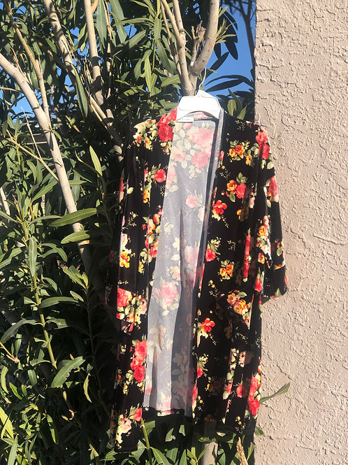 Velvet Floral Duster w/ Pockets