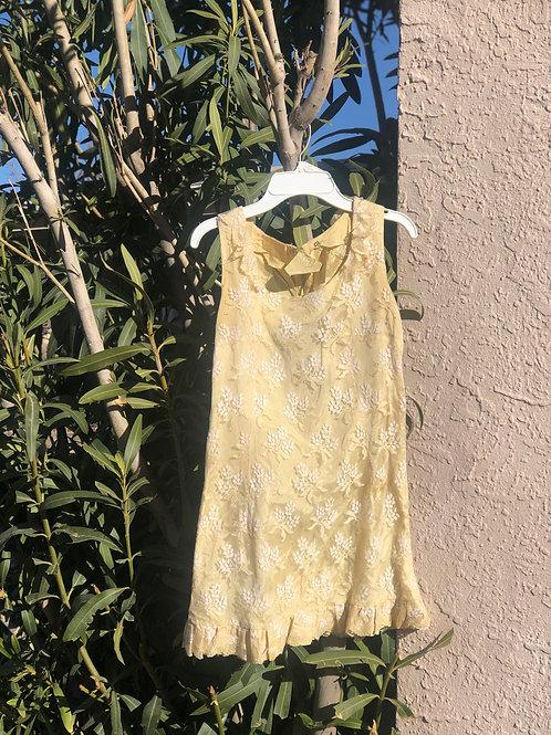 Sweet lil 60s Mod Lace Yellow Shift Mini-Dress