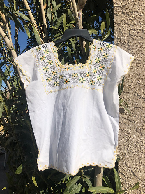White and Yellow Huipil Blouse