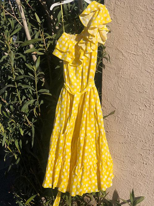 Polka Dot Midi Length Asymmetrical Ruffle Dress  Lisa Marie Fernandez
