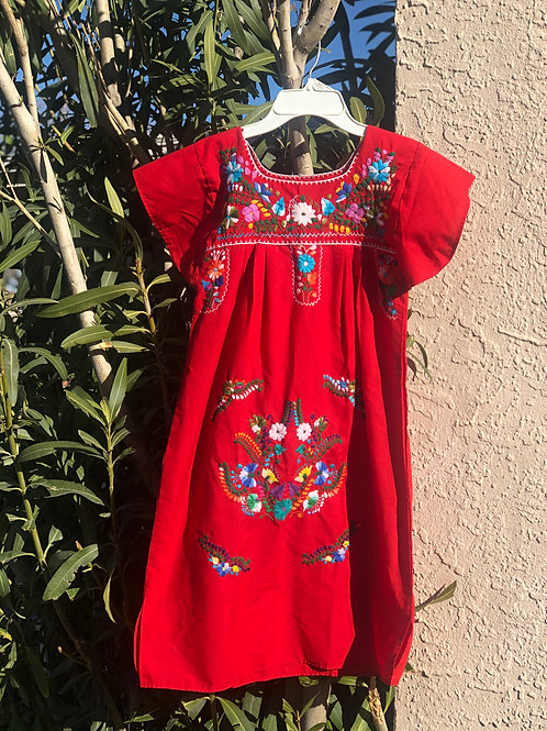 Red Embroidered Mexi Dress
