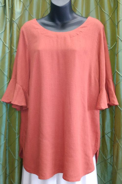 Linen/Cotton top - frill3/4 sleeve