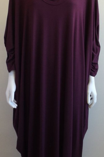 Batwing Dress in Wine - 100% cotton