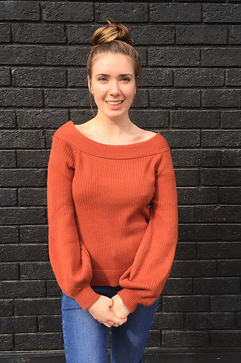 Rust off shoulder jumper