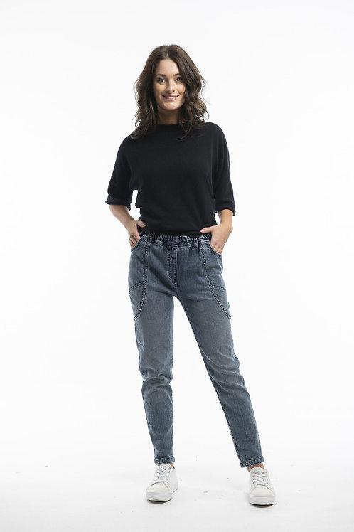 Denim cotton pull on jeans